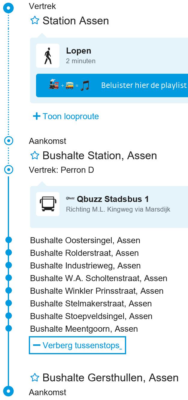 Haltes Buslijn 1 op weg naar Gersthullen