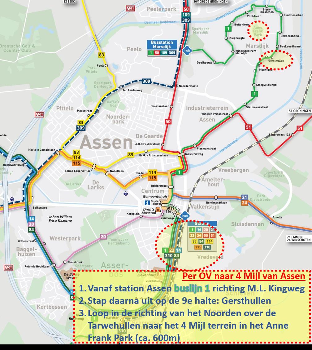Buslijn 1 (richting M.L. Kingweg) naar Gersthullen